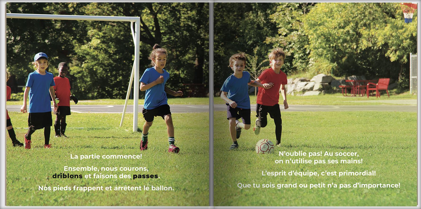 Page intérieure du livre Ma première partie de soccer
