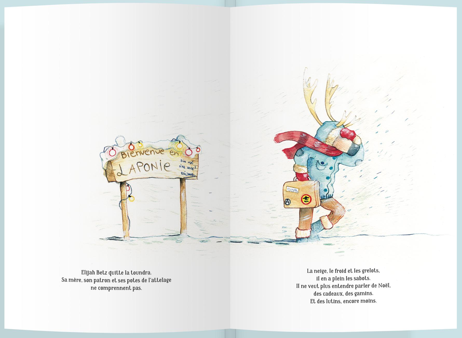 Page intérieure du livre Elijah Betz, le renne punk de noël